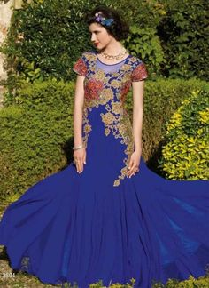 Unique Royal Blue Faux Georgette Party Wear Fancy Gown