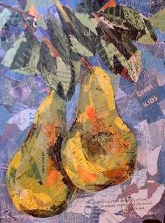 Eileen Downes artist collage pears fruit torn paper painting