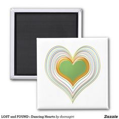 LOST and FOUND : Dancing Hearts 2 Inch Square Magnet