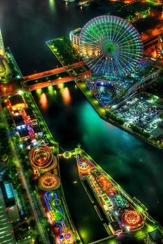 The colorful lights of a carnival in Yokohama, Japan.  For more great travel photos check out my blog at http://traviscaulfield.wordpress.com