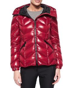 Badete Short Hooded Puffer Coat by Moncler in CHARCOAL.