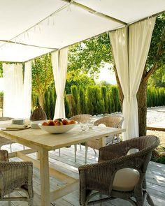 Having a gazebo can take any homes' backyard to the next level! While gazebos are great for blocking direct overhead sun, especially around noon each day. Porch Curtains, Outdoor Curtains, Outdoor Rooms, Outdoor Dining, Outdoor Furniture Sets, Outdoor Decor, Sunroom Dining, Ikea Outdoor, Dining Room