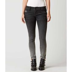 Rock Revival Arda Skinny Stretch Jean - Blue 23/32 ($164) ❤ liked on Polyvore featuring jeans, blue, zipper skinny jeans, rock revival skinny jeans, super low rise skinny jeans, skinny leg jeans and rock revival jeans