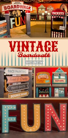 Choose this Vintage Boardwalk theme kitt to transform your venue into a realistic looking boardwalk with shops along the oceanfront. Complement your event with personalized carnival favors, invitations, and more! Shop all of our carnival party supplies to make your event complete!
