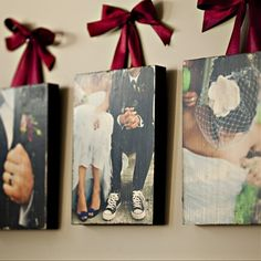 I love this idea.........5x7 photos, painted wooden boards, mod podge, ribbon. Simple home decor