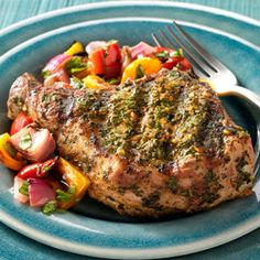 Charmoula-Marinated Pork Chops with Grilled Pepper Mélange