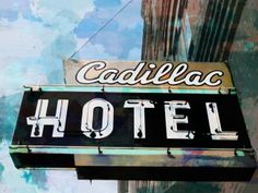 """Cadillac Hotel Poster"" by John Fish, Los Angeles // Digital art from photo and painting. This great sign is for the historic Cadillac Hotel in Seattle, Washington. The hotel was built in 1889 by architect and builder James W. Hetherinton and Clements. The Cadillac is a three-story Victorian building, located in the Pioneer Sq... // Imagekind.com -- Buy stunning fine art prints, framed prints and canvas prints directly from independent working artists and photographers."