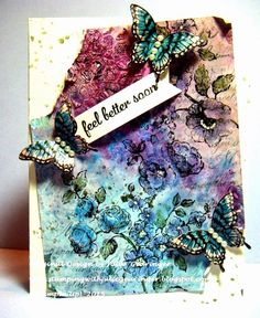 Stamping with Julie Gearinger: TCC29 Feel Better Soon Mixed Media Card :-) Stampin' Up! Card created using Papillon Potpourri, Elements of Style, Gorgeous Grunge and Script background along with Distress Inks, Stains, Gesso and Crackle Texture Paste :-)