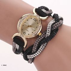 Crystal Band Sparkling Wave Bracelet Analog Quartz Wrap Wrist Watch