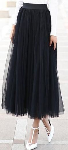 Spring Summer Big Swing Maxi Skirts Women Autumn Winter High Waist Tutu Long Ball Gown Tulle Skirt