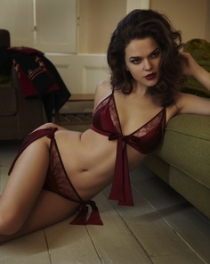 Fleur of England - Front Tie Boudoir Bra and Bow Tie Brief in Sergeant Red