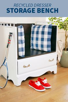 Turn an old dresser into a gorgeous new bench with this clever DIY tutorial.