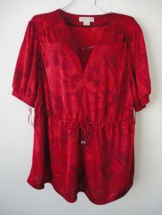 MICHAEL-KORS-Sz-3X-TOp-Blouse-Shirt-Red