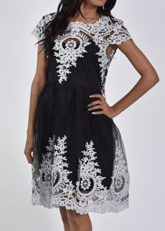 Lace Panel Black A Line Dress on sale only US$32.19 now, buy cheap Lace Panel Black A Line Dress at modlily.com