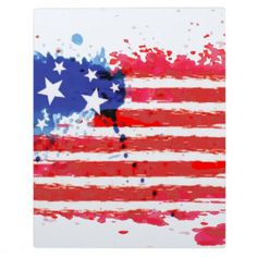 #watercolor grunge American Flag Plaque - #LaborDay Labor Day #labor #day #patriotic #summer #barbecue #bbq #party