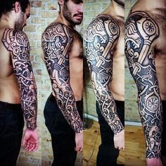 Guys Sleeves Viking Nordic Tattoo Designs