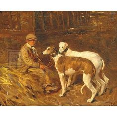 Sir Alfred James Munnings Boy with Greyhounds