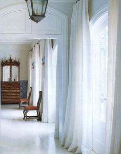 Painted Wood Floors And The Reasons Why It's a Bad Idea - laurel home - beautiful design with a beautiful white painted wood floor. Love the floaty white drapes too. Home Interior, Interior Architecture, Interior And Exterior, Interior Design, Interior Livingroom, Interior Modern, White Curtains, Hallway Curtains, Ceiling Curtains