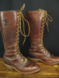 Vintage Chippewa Brown Tall Lace Leather Knee High Roper Boots Size 7.5 EE #Chippewa #RidingEquestrian