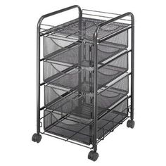 Safco Products Onyx Mesh 4 Drawer Rolling File Cart Black Powder Coat Finish, Durable Steel Mesh Construction, Swivel Wheels For Mobility Storage Cart, Storage Drawers, Wire Storage, Storage Bins, Storage Solutions, Storage Ideas, Drawer Cart, Steel Channel, Utility Cart