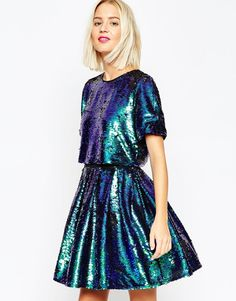 OH  MY WORD I NEEEEEEEED!!!!!! ASOS+Sequin+Crop+Top+Skater+Mini+Dress