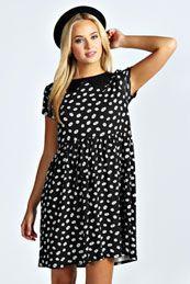 Debbie Daisy Print Collar Smock Dress