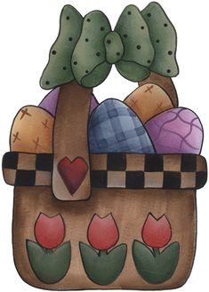 EASTER BASKET AND EGGS CLIP ART