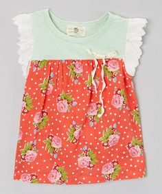 Look at this Red & Green Polka Dot Top - Girls on #zulily today!