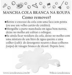 Dicas da Zezé - COMO REMOVER MANCHA DE COLA DA ROUPA