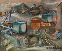 Tanks, Barrels and Drums by Frances Hodgkins