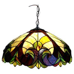"""Features:  -Use in an indoor setting.  -306 Glass pieces.  -UL approved.  -Antique bronze chain construction.  -Hardwired: Yes.  -Length: 36"""".  Fixture Type: -Bowl pendant.  Style: -Tiffany.  Shade Ma"""