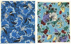 Textile designer Zina de Plagny print. Her prints were created for Parisian couturiers in the forties and fifties. The designs were retrieved from their portfolios in 2009, after a 60 years' sleep, when they were revealed to the public for an exhibition.