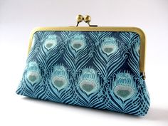 Art Nouveau Peacock feather clutch purse in Liberty of London print. $60.00, via Etsy.