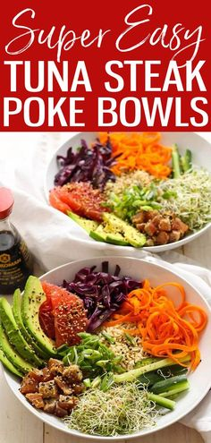 TheseTuna Steak Poke Bowls are a delicious twist on the popular restaurant dish - this recipe includes fun and unusual toppings to switch it up! #ahituna #pokebowls High Protein Meal Prep, High Protein Recipes, Summer Recipes, Great Recipes, Whole Food Recipes, Clean Eating Recipes, Eating Healthy, Tuna Steaks, Restaurant Dishes