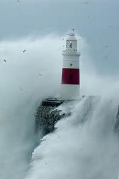#lighthouse surrounded by #waves