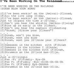 Childrens Songs and Nursery Rhymes, lyrics with chords for guitar, banjo etc for song ive-been-working-on-the-railroad