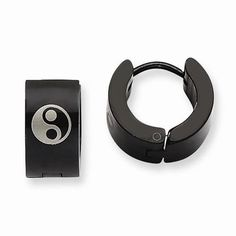 """NEW CHISEL STAINLESS STEEL YIN YANG BLACK IP PLATED HOOP 4.9g EARRINGS .30""""X.35"""" #Chisel #Hoop"""
