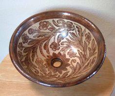 'Reina Dorado'        ~ Mexican Hand Painted Copper Vessel Sink | Bathroom Vanity Sink  medium - $647.00