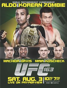 UFC Saturday August 3rd Aldo vs Jung 8:00 PM 3.00 Cover Call for Reservations Today 254-953-7412