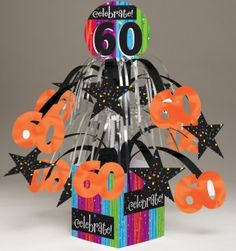 Milestone Celebrations - 60th Centerpiece, Mini Cascade with Printed Base - 6 per case  Product # :260683  $11.40