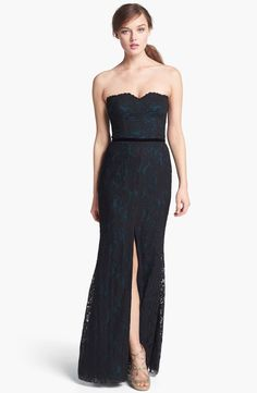 Black lace over dark green - so elegant. Jill Stuart lace dress