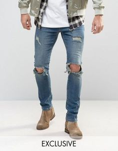 Buy Mennace Muscle Fit Slim Jeans With Rips In Mid Wash at ASOS. With free delivery and return options (Ts&Cs apply), online shopping has never been so easy. Get the latest trends with ASOS now. Slim Jeans, Fashion Online, Asos, Mens Fashion, Fitness, How To Wear, Outfits, Shopping, Stitching