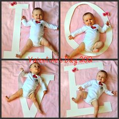 *L=3months old O= 6 months old V= 9 months old E= 1year/12 months old! -such a cute idea*