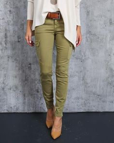Olive Cargo Zip Skinnies