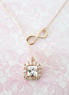 Rose Gold Luxe Cushion Sqaure Cubic Zirconia and Infinity Lariat, Y Necklace, bridesmaid gift, pink gold wedding bridesmaid necklace, by ColorMeMissy, www.colormemissy.com
