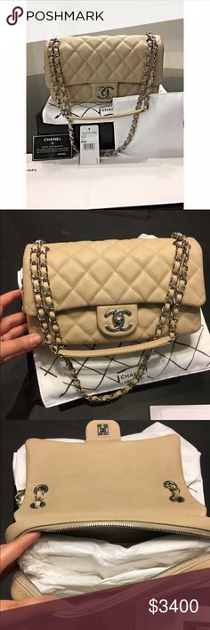 Chanel flap bag Beautiful pre owned chanel flap bag. This bag can completely pass as a chanel classic instead of a flap. It even comes with the classic dustbag and packet. Also includes box, tag, dustbag, and authentication card. Open to offers CHANEL Bags