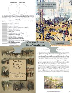 70 pages of FREE Civil War-themed activities and copywork for elementary-middle school.