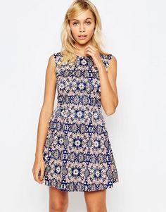Madam Rage | Короткое приталенное платье с цветочным принтом Madam Rage
