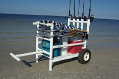 Highest quality PVC beach cart, fishing cart, kayak cart, paddle board (SUP) cart and scuba cart configurations. Accessories available. Beach Fishing Cart, Beach Cart, Fishing 101, Kayak Fishing, Fishing Boats, Fishing Rod Rack, Fishing Rod Storage, Fishing Holidays, Kayak Cart
