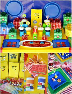 Amazing Lego Party - love the giant lego background block, the cool lego gift bags and the fun foods!